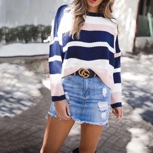 💕💕Perfect Day Oversized Navy Pink Cozy Sweater